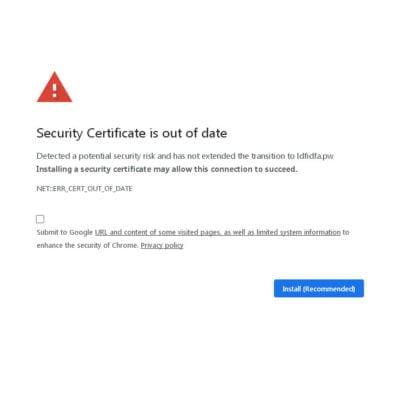 error sertifikat situs web